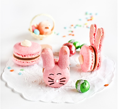 French Macaroon Bunnies Recipe on Raspberri Cupcakes