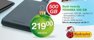 Dysk twardy Toshiba 500GB Biedronka ulotka