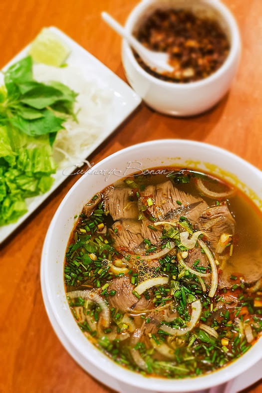 Bun Bo Hue, spicy Hue beef soup with rice vermicelli