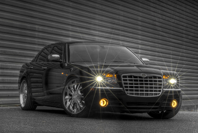 photo hdr voiture, chrysler 300c dub, chrysler 300 noir, photo hdr fabien monteil