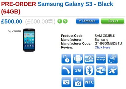 Black 64GB Samsung Galaxy S III Available For Pre-Order In The UK Via Clove