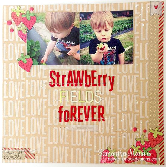 Strawberry Scrabpook pg by Samantha Mann | Sweet Summer Stamp Set | Newton's Nook Designs
