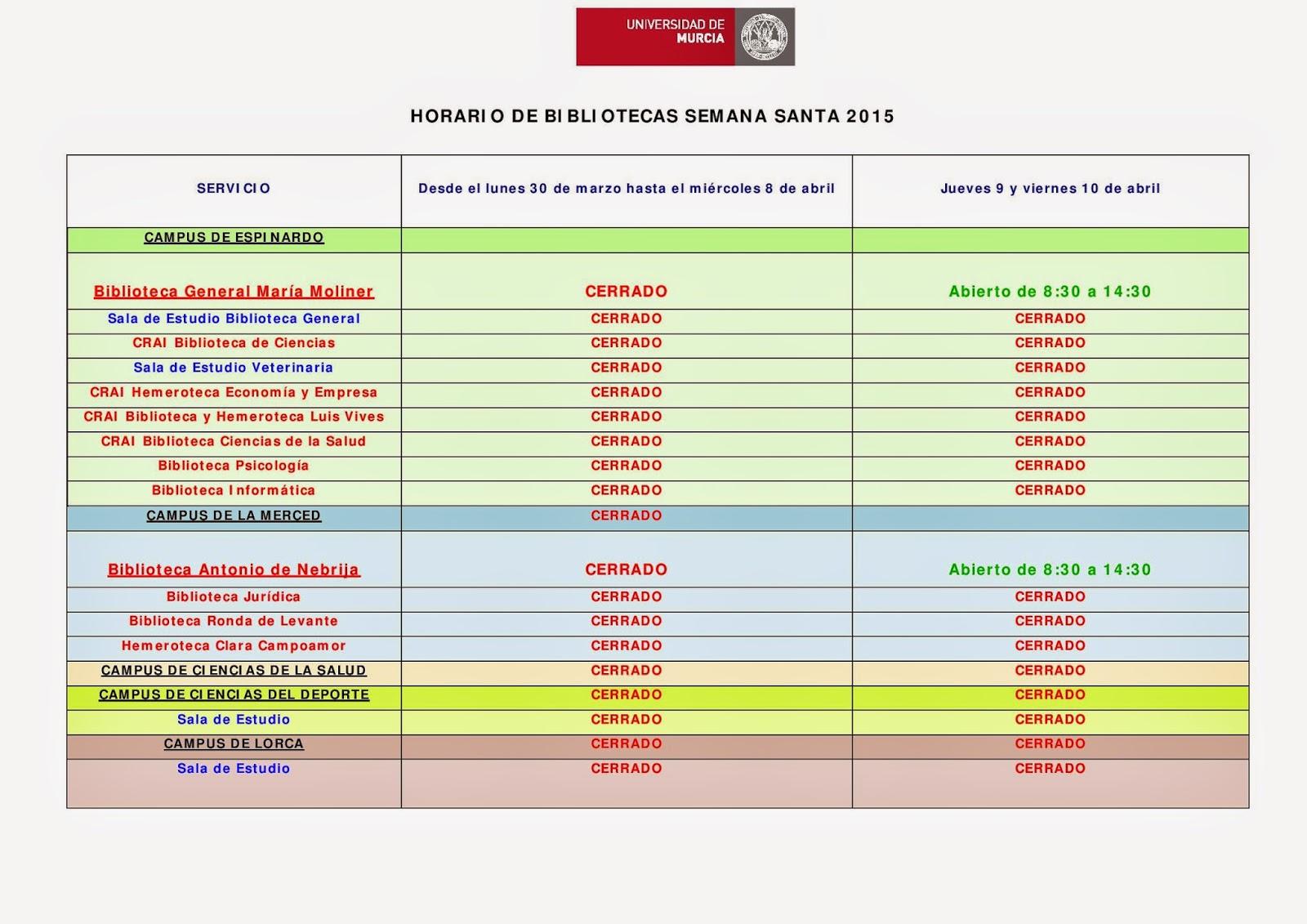 Horario extraordinario de la Semana Santa - Fiestas de Primavera 2015.