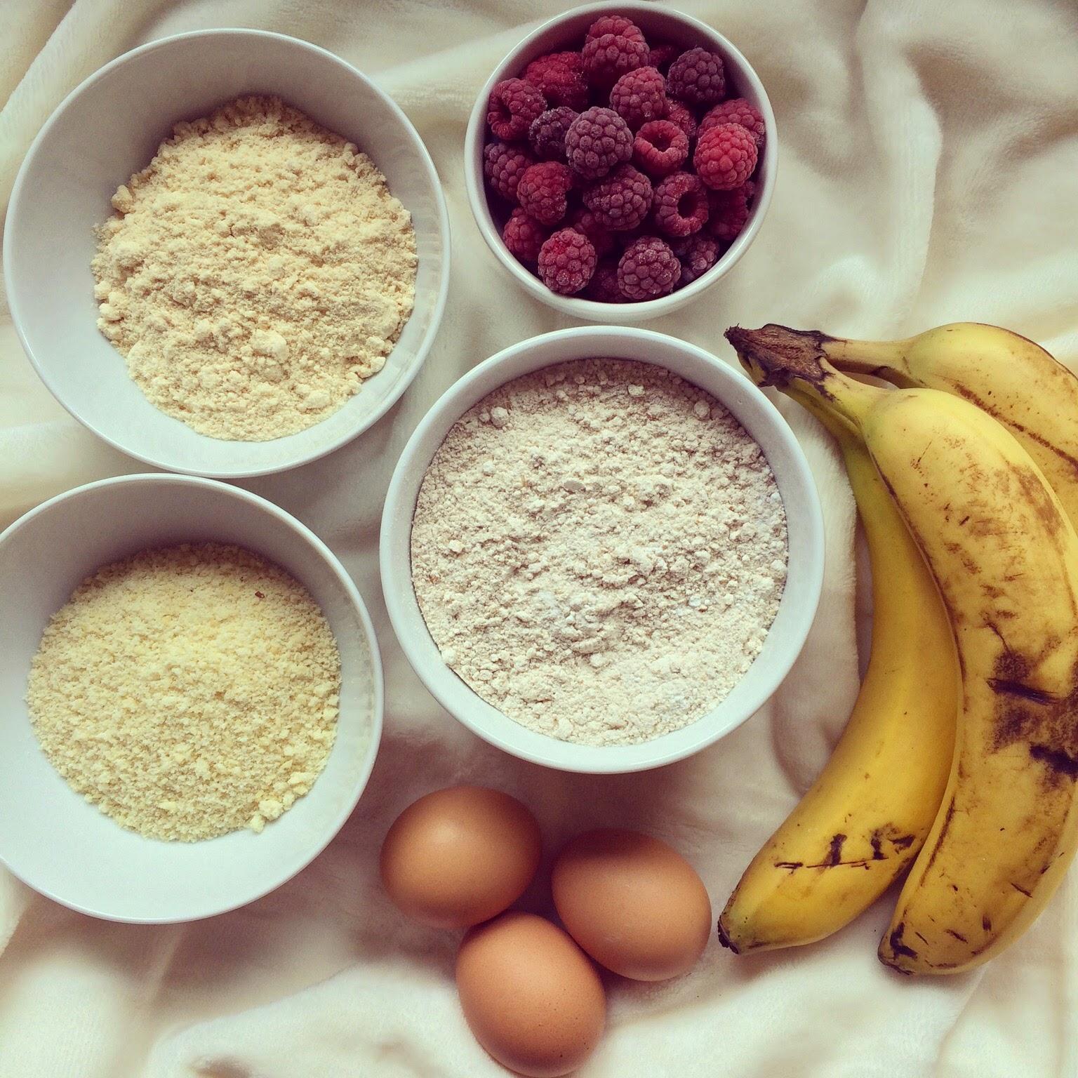 pain bananes framboises