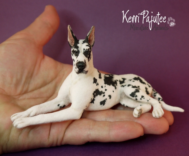 17-Harlequin-Great-Dane-Kerri-Pajutee-Miniature-Sculpture-that-look-Real-www-designstack-co