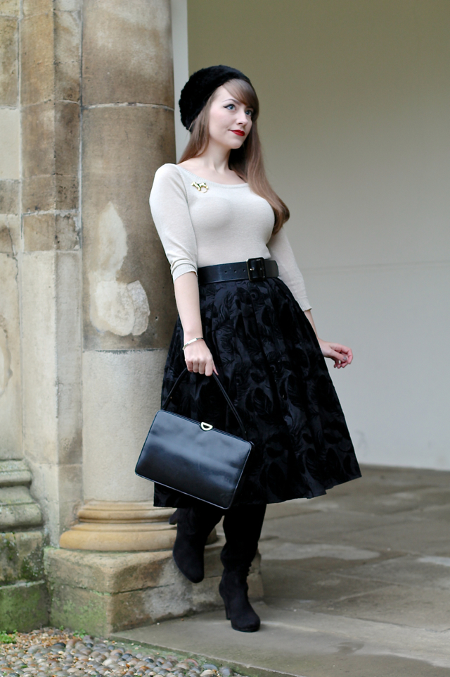 Feminine 50s winter outfit with fur hat, bardot top and Voodoo Vixen Andrea skirt