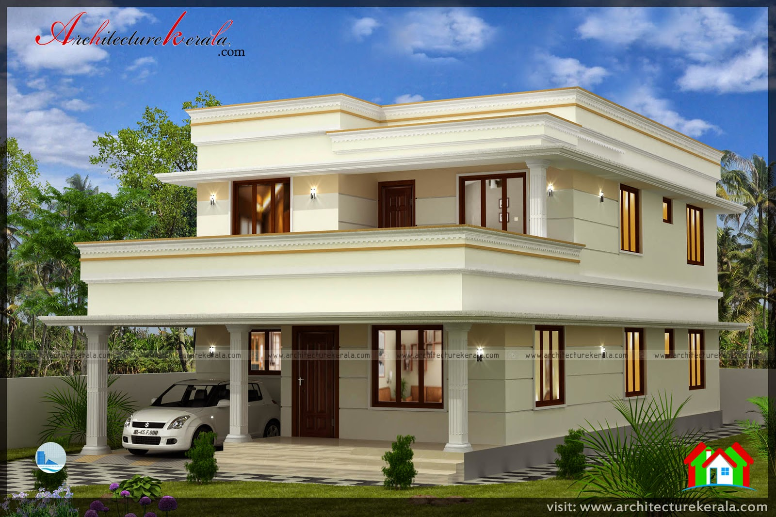 House plan 4 bedrooms architecture kerala for Kerala house plans 4 bedroom