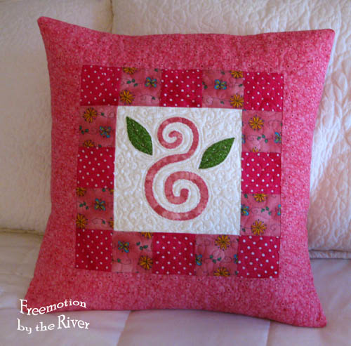 Pink Swirl pillow - Freemotion by the River