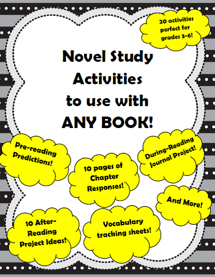 http://www.teacherspayteachers.com/Product/20-Novel-Study-Activities-to-use-with-ANY-NOVEL-for-Intermediate-Grades-1078482