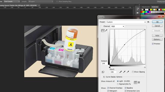 adjust brightnessto reduce Epson Printer Ink