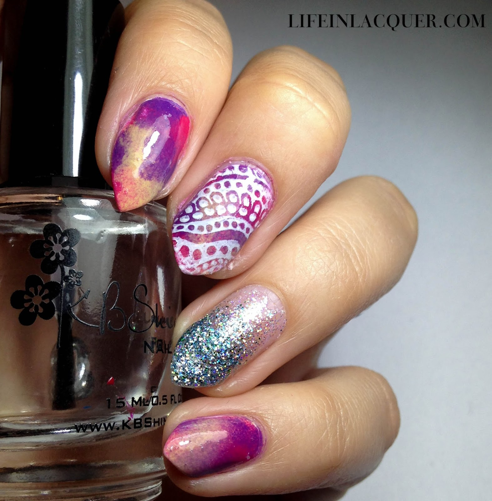 Watercolour Nail Art With Stamping glitter moyou