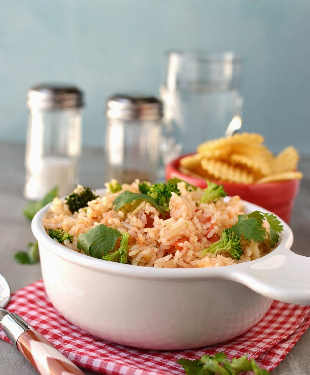 Whole Tomato Rice with Indian flavors (made in Rice Cooker)