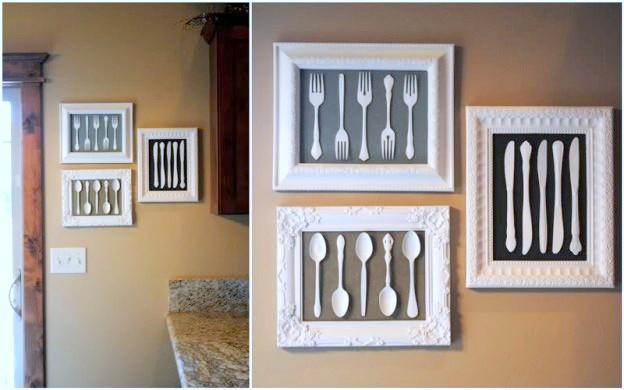 Cuadro DIY original para la cocina con cubiertos de plástico