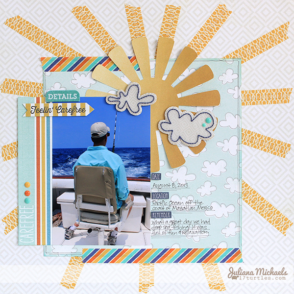 Feelin Carefree Scrapbook Page by Juliana Michaels featuring You Are My Sunshine Free Digital Cut File 17turtles