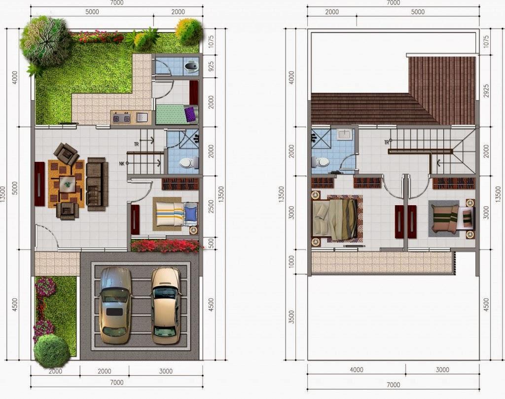 desain rumah mewah luas tanah 7x13 5 m