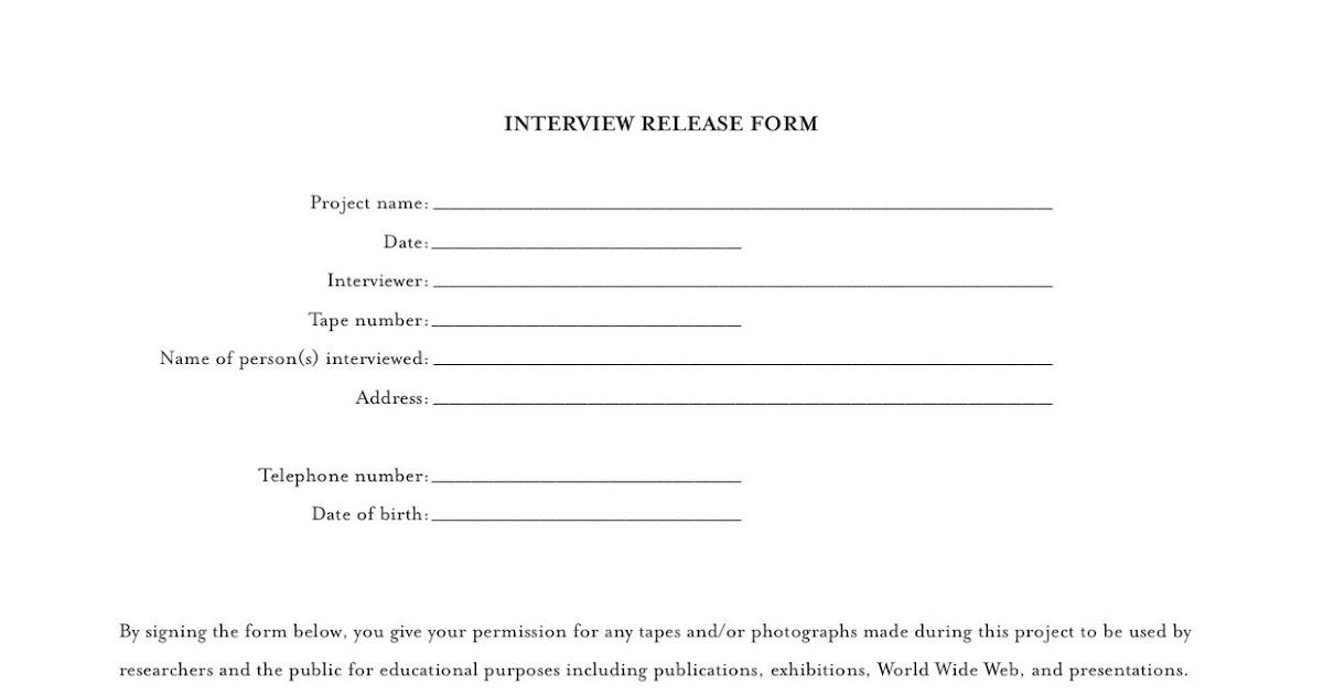 Interview Release Form Video Release Form Property Photo Release