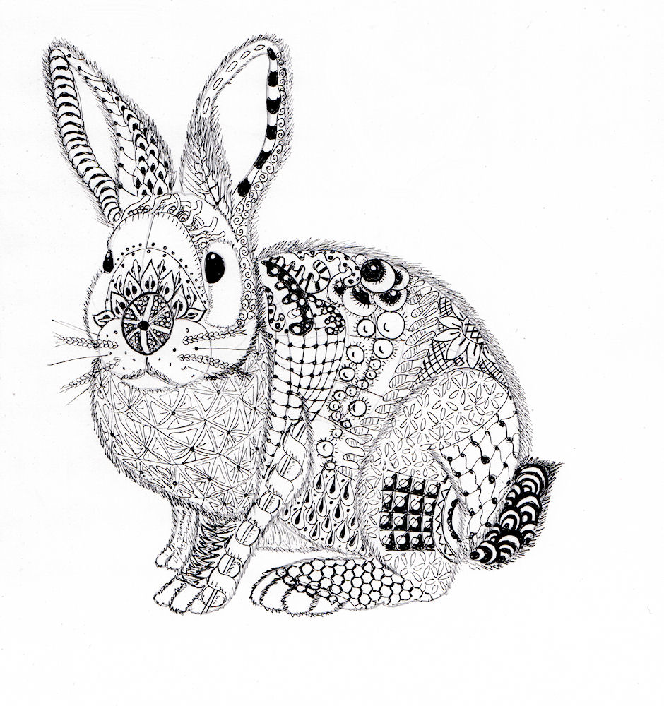 Efie goes zentangle ben kwok rabbit - Mandalas animaux ...