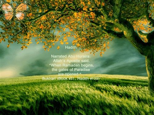 Nice Pic With Quote From Bukhari: When Ramadan Begins, The Gates Of Paradise Are Opened