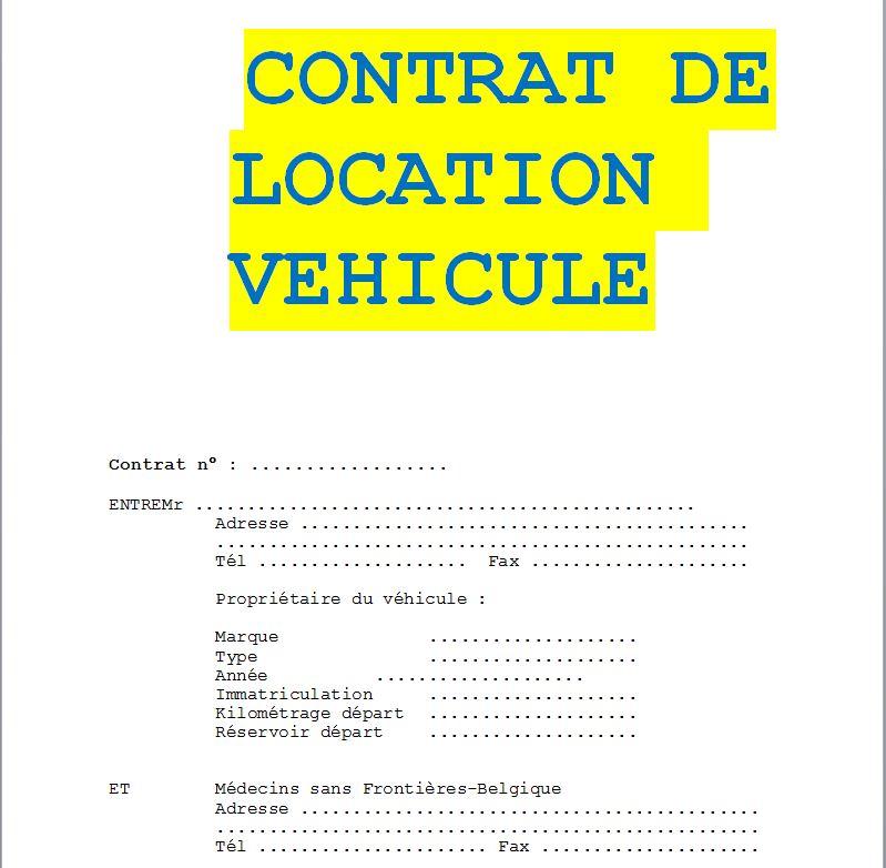 Contrat d location de voiture
