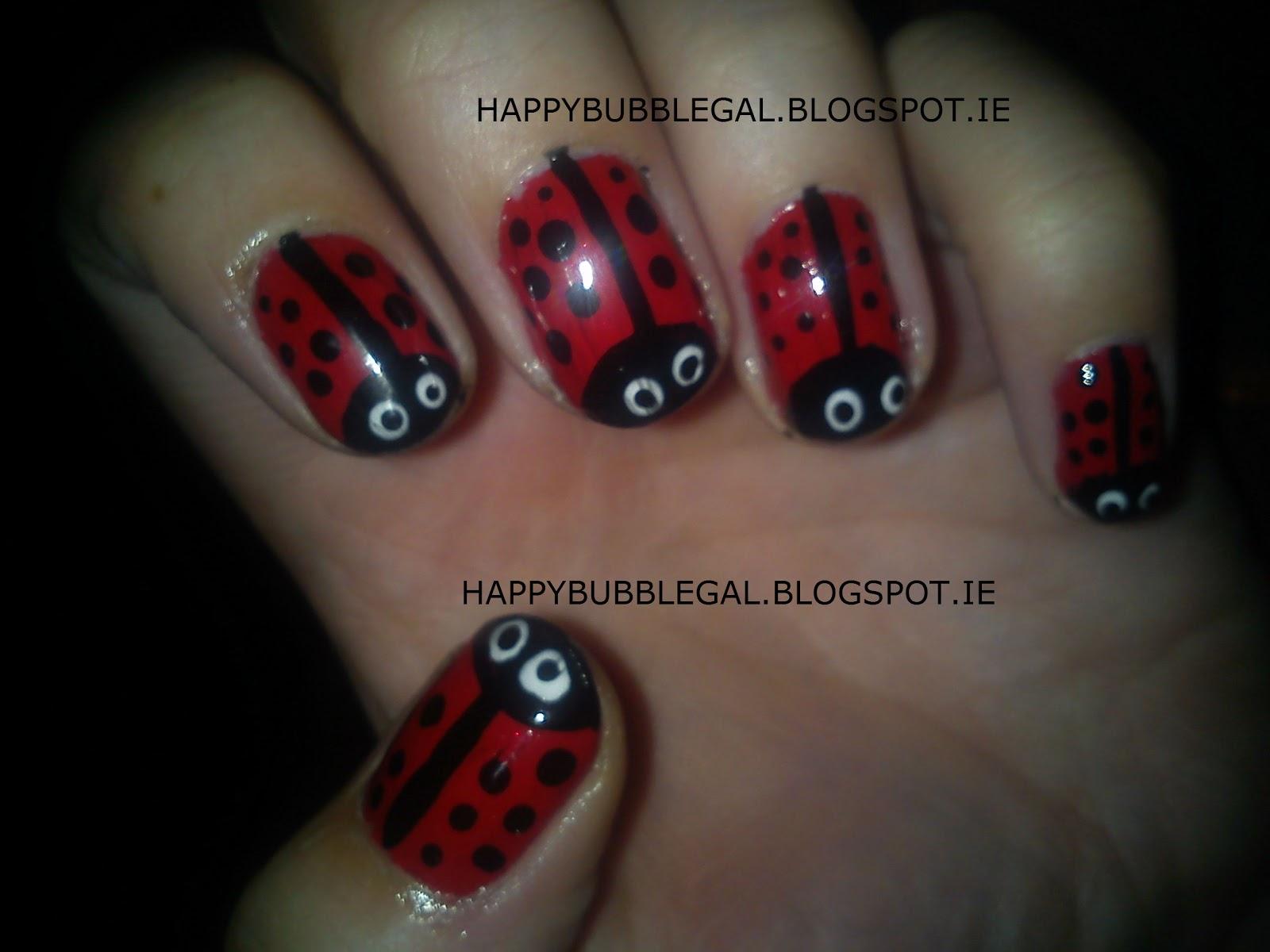 Happy Bubble Gal Ladybird Nail Art