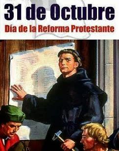 Martín Lutero clavando las 95 tesis en la Iglesia de Wittemberg en Alemania