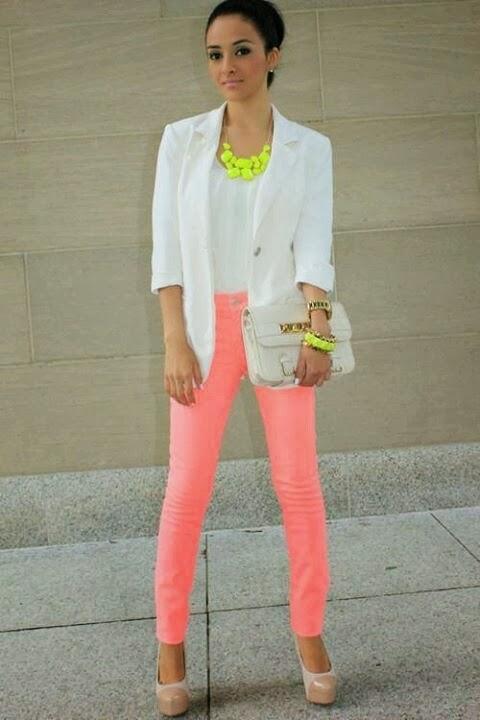 White blazer, coral pants & neon accents