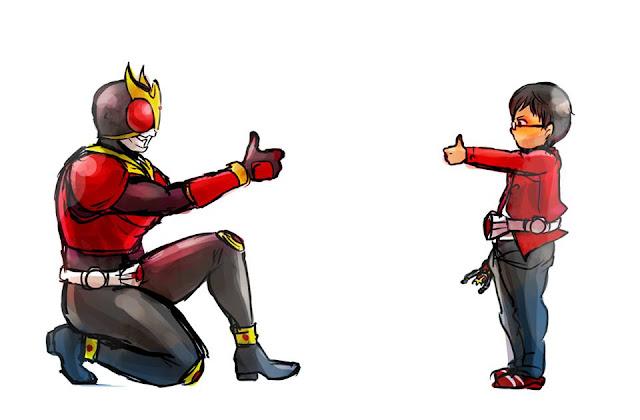 Gambar, Ilustrasi, Kamen Rider, Ksatria Baja Hitam,  Masa Kecil, Kamen Rider Kuuga