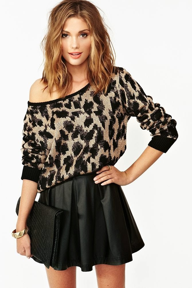 Off shoulder spring sweater with black leather skirt