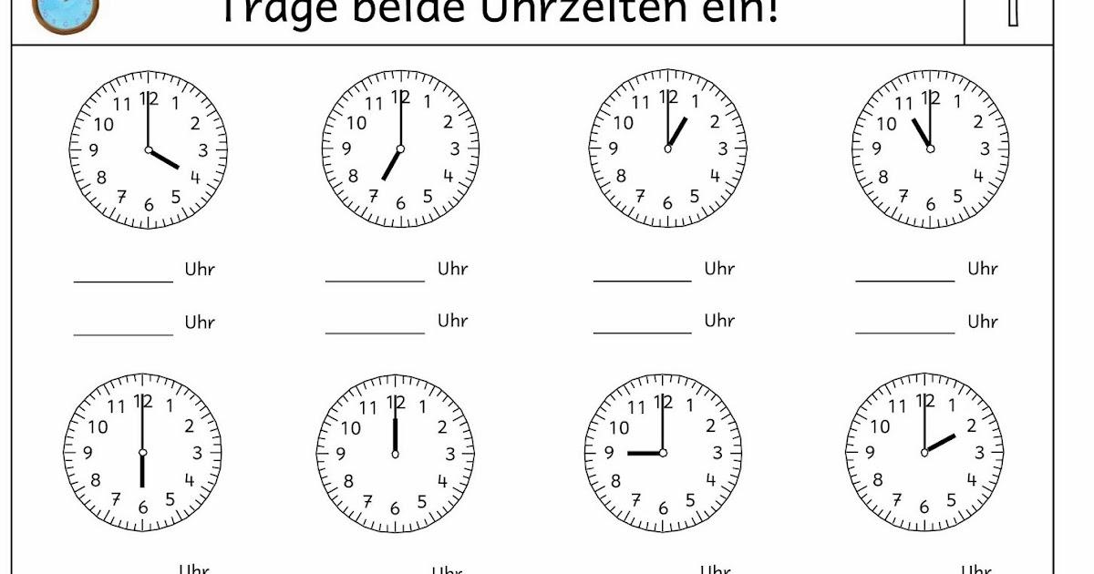 Arbeitsblatt Uhrzeit Klasse : Lernstübchen uhrenkartei