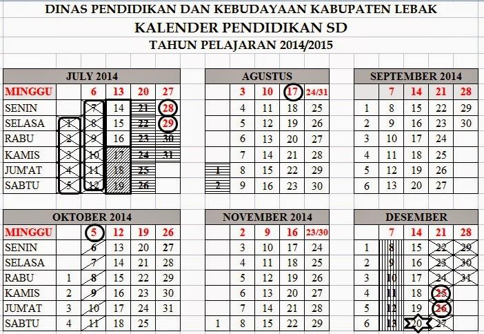 Kalender Pendidikan untuk SD, SMP, dan SMA Tahun Pelajaran 2014/2015