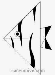 Bước 12: Vẽ mắt, vân để hoàn thành cách xếp con cá thiên thần bằng giấy theo phong cách origami.