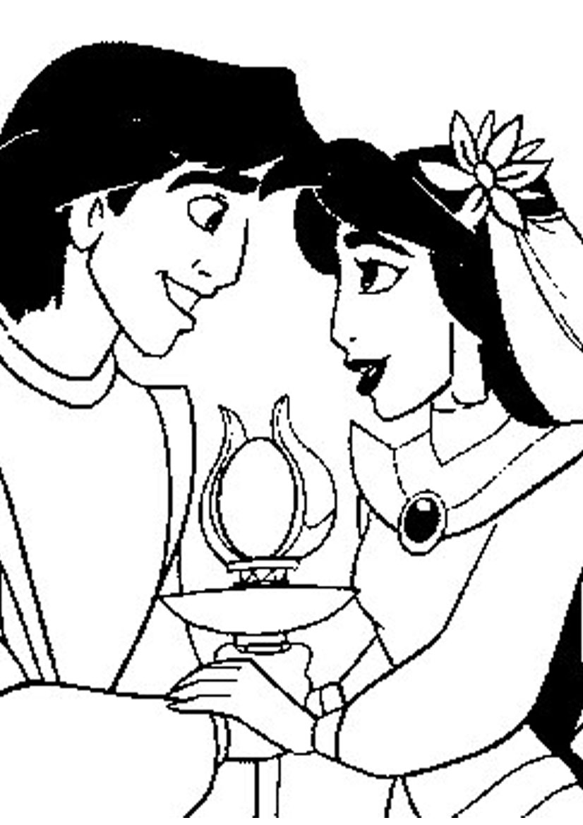 Disney cartoon coloring pages princess jasmine and aladdin for Jasmine the princess coloring pages