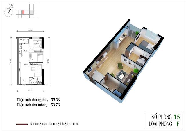 Thiết căn hộ 55 m2 dự án Eco Green City