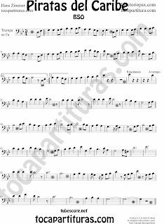 ¡Nuevo! Partitura de Piratas del Caribe para Fagot en Clave de Fa en 4º línea (sheet music Pirates of the Caribbean Bassoon Music Score). Partitura de Piratas del Caribe para Fagot