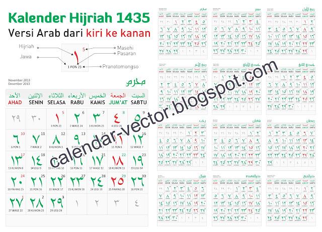 Kalender HIJRIAH 1435 Versi Arab dari kiri Ke kanan (HIJ-1435-01