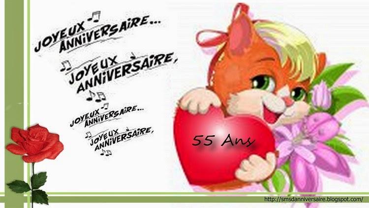 Populaire SMS d'amour 2018 - SMS d'amour message: SMS d'anniversaire pour 55 ans VX75