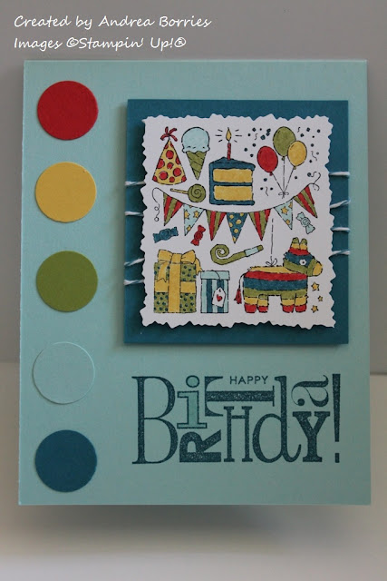 Light blue birthday card with bright circles along the side (red, yellow, green, light blue, dark blue). Focal collage-type image includes a banner, cake, pinata, balloons and presents.