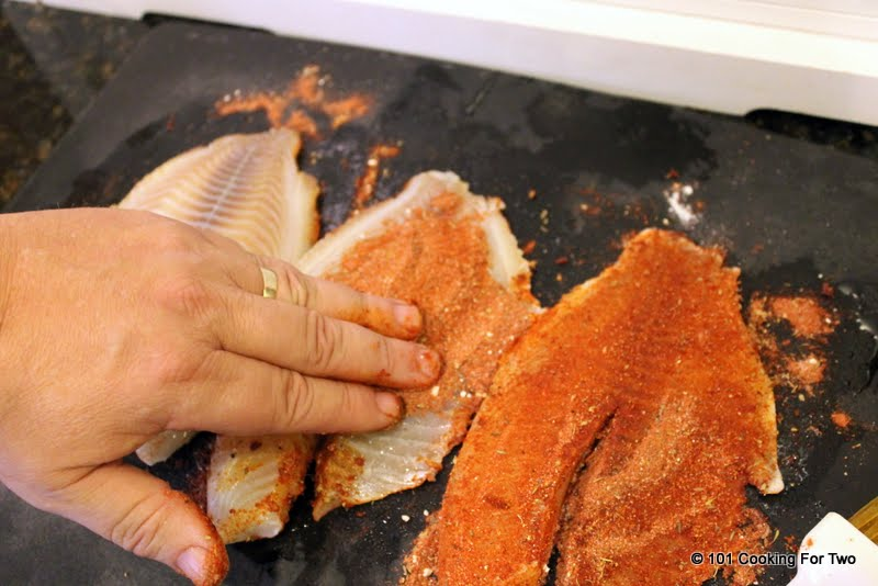 Oven baked blackened tilapia 101 cooking for two for How to bake tilapia fish in the oven