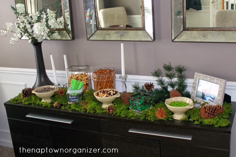 woodland birthday party food snack and candy table and decor / decorations
