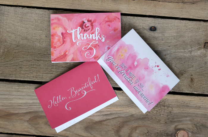 "Free Printable Girly Notecards--""Thanks,"" ""Hello, Beautiful,"" and ""Just a note to say...You're freakin' awesome."" pitterandglink.com"