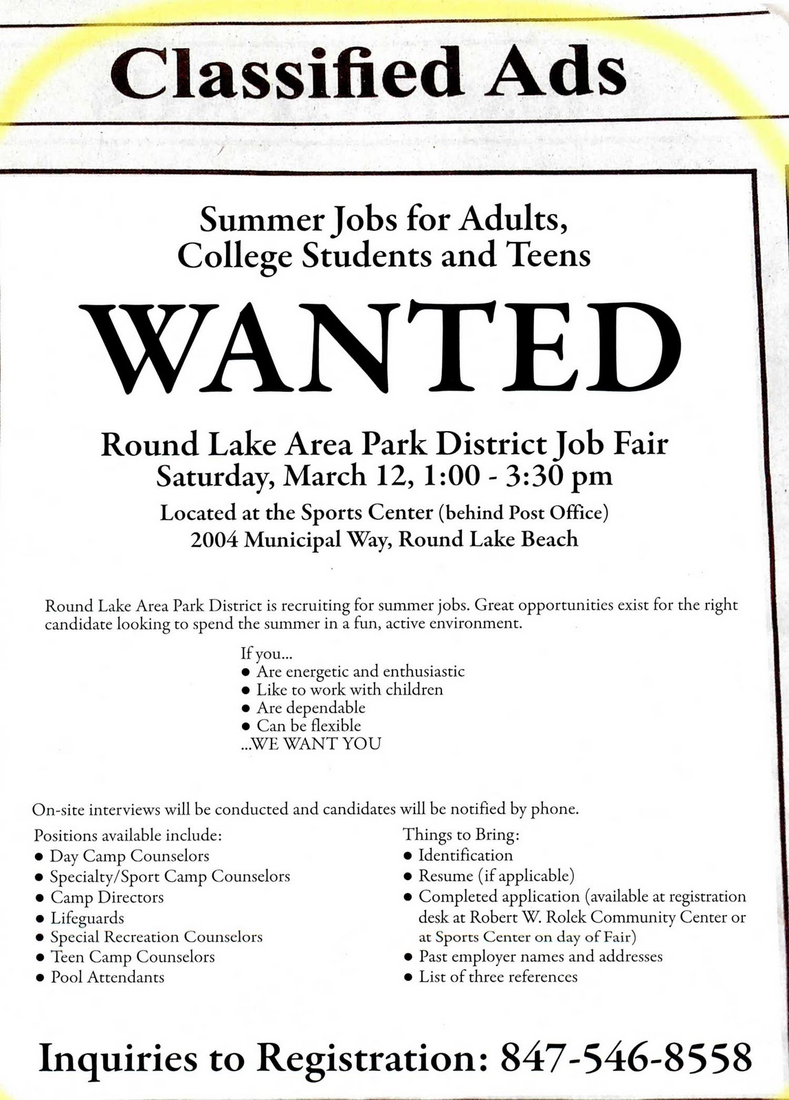 tech campus news  summer jobs available at round lake area