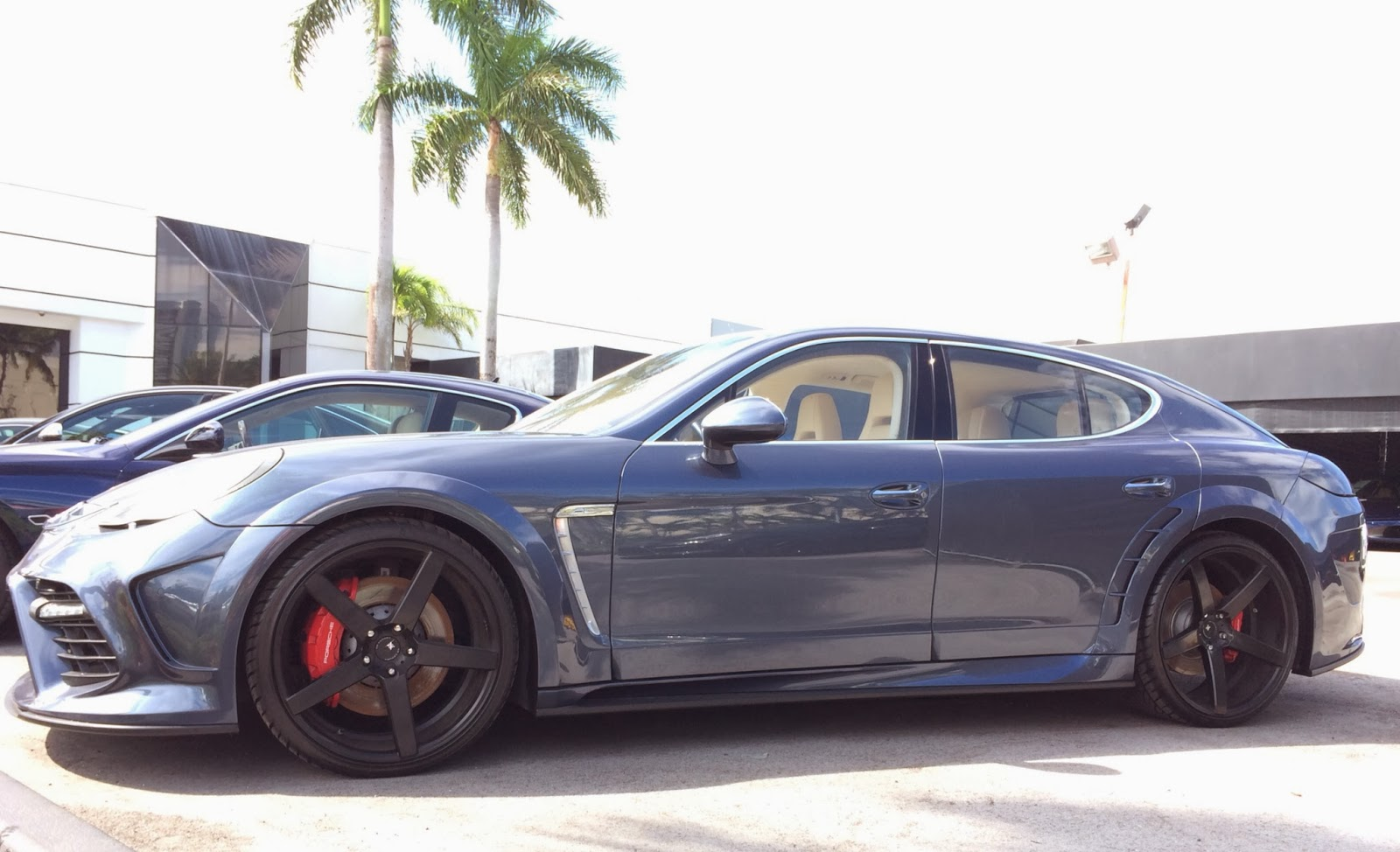 blue porsche panamera modified