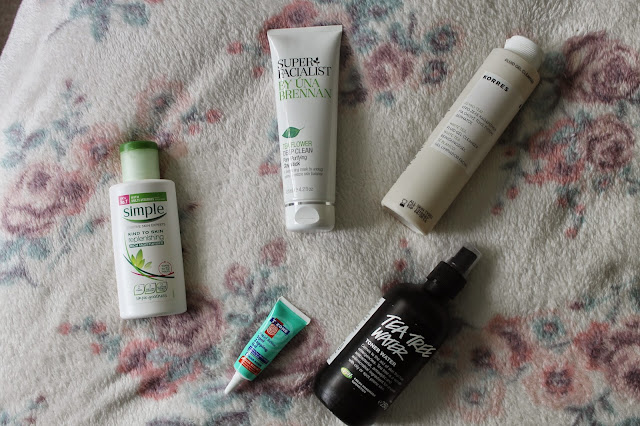 Products for acne and spot prone skin Simple Lush T-Zone Una Brennan Korres