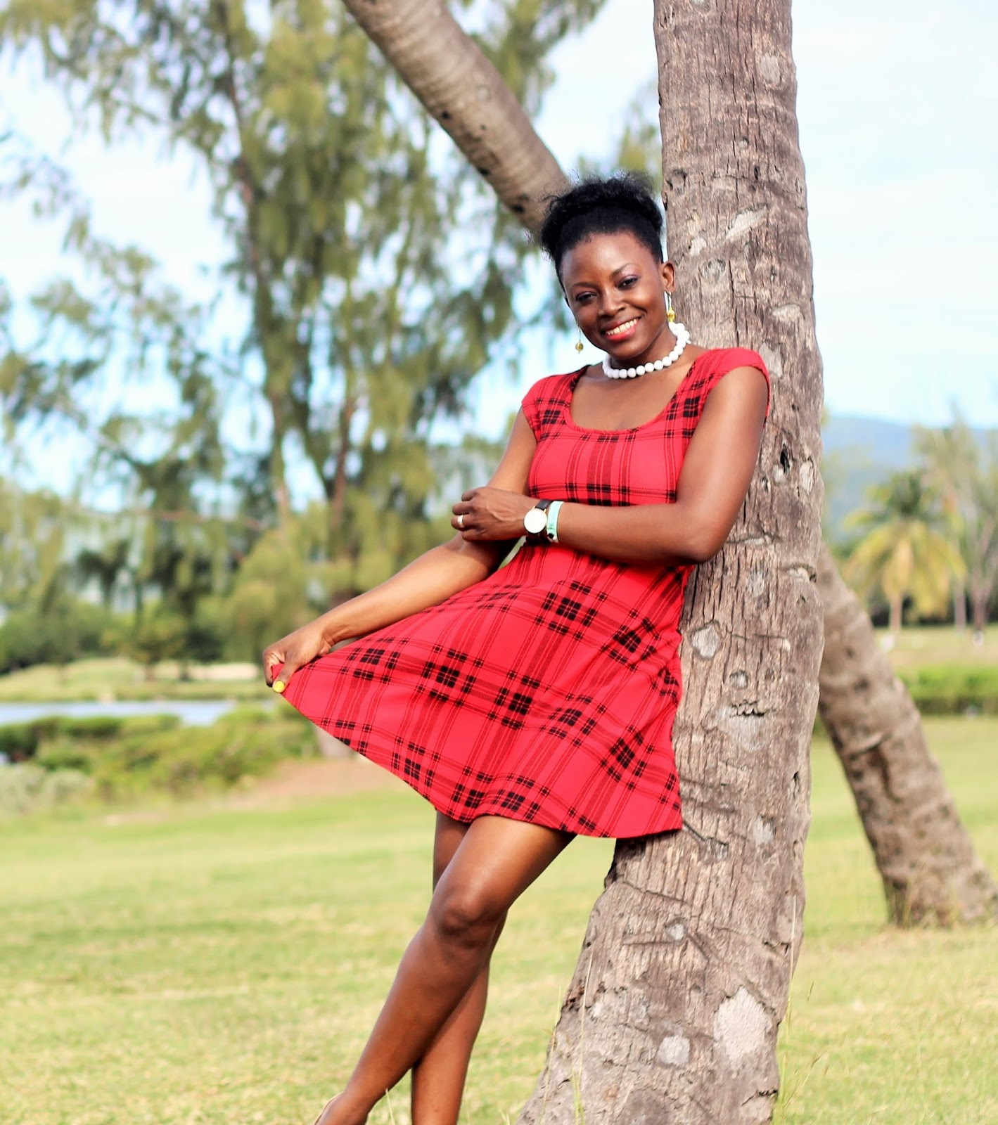 Red Tartan Skater Dress by Rebel Sugar