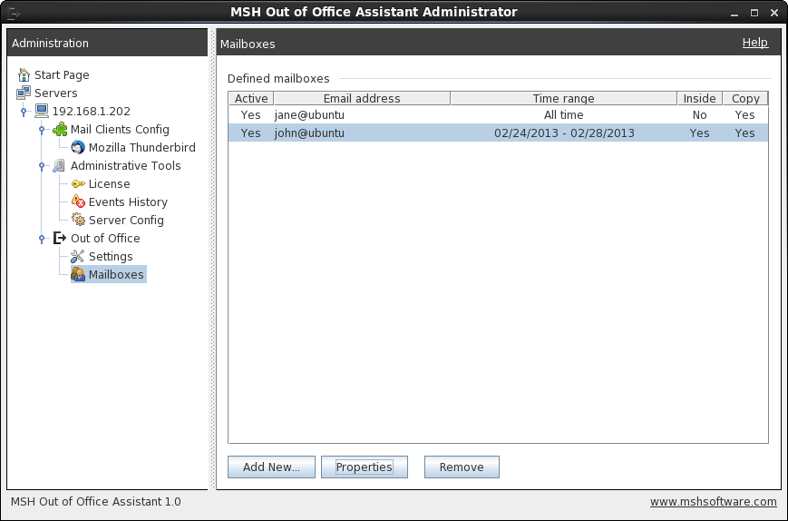 Server administration over out of office user settings.