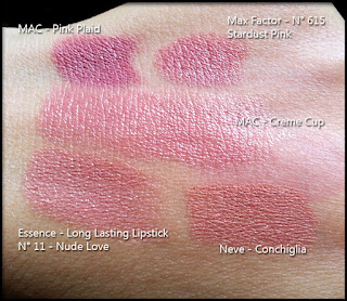 MAC Cosmetics - Crème Cup - Confronto con MAC Pink Plaid, Max Factor n° 615 Stardust Pink, Essence Long Lasting Lipstick n° 11, Pastello labbra Conchiglia di Neve Cosmetics