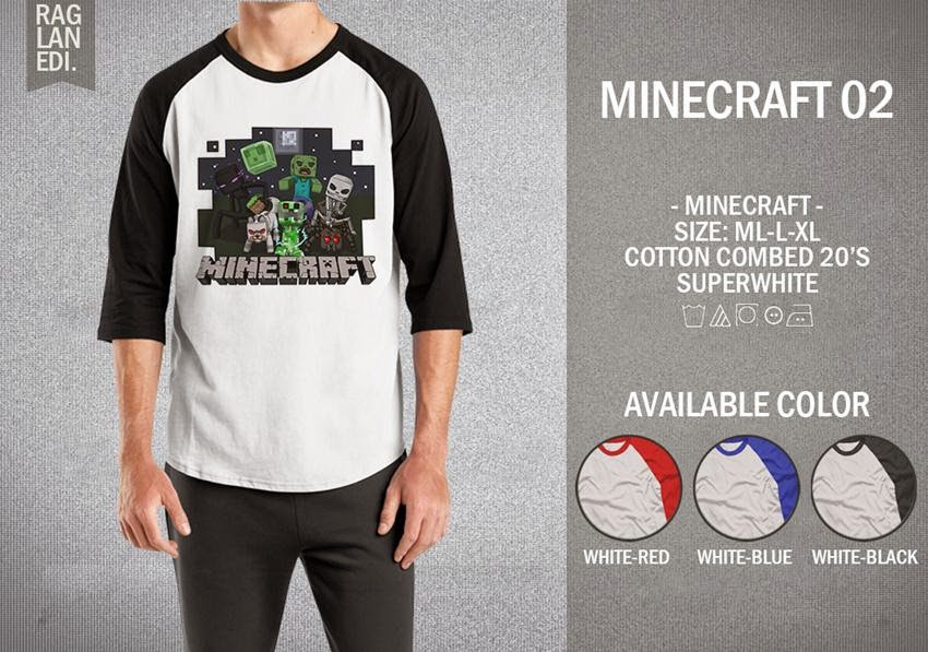 Raglan Minecraft 02 Jual Kaos Berkualitas Terbaru