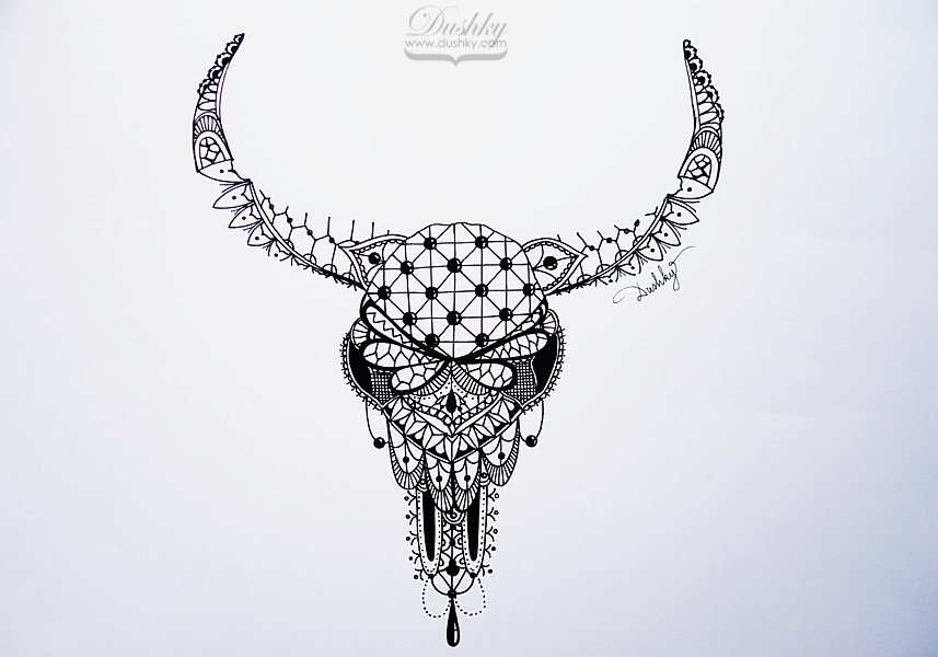 Cow skull tattoo flash - photo#22