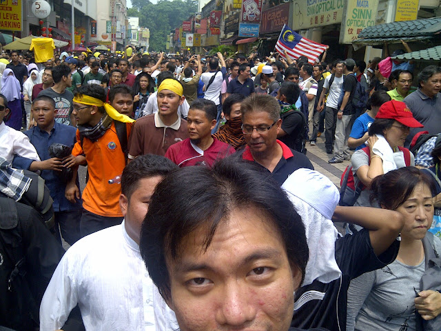 Bersih 2.0 rally demonstrators protestors at Jalan Sultan to Jalan Tun Perak