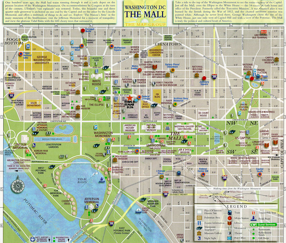 maps washington dc – Washington DC Tourist Map